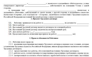 Стандартный трудовой договор образец