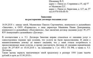 Письмо о разрыве договора образец
