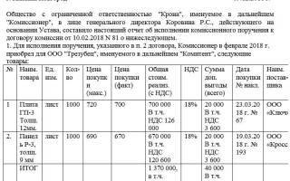 Отчет комитенту о продажах образец заполнения