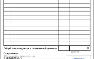 Опись отправляемых документов на примере