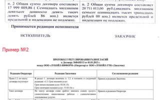Протокол разногласий к договору купли продажи образец